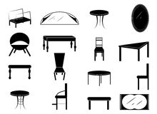 Furniture. Home Equipment and Furniture icons set in black vector illustration