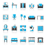 Furniture and home equipment icons Stock Photography