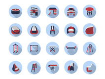 Furniture for home flat color icons collection Royalty Free Stock Image