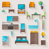 Furniture home flat icons set Stock Photos