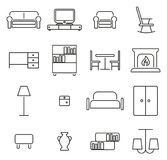 Furniture or Home Furnishing Icons Thin Line Vector Illustration Set. This image is a vector illustration and can be scaled to any size without loss of Royalty Free Stock Photo