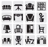 Furniture and home icons Stock Images