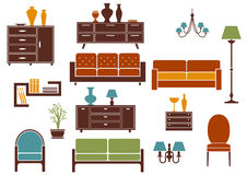 Furniture and home interior flat design elements Royalty Free Stock Photos