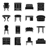 Furniture and home interior set icons in black style. Big collection of furniture and home interior vector symbol stock Stock Photos