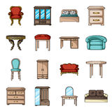 Furniture and home interior set icons in cartoon style. Big collection of furniture and home interior vector symbol Stock Photography