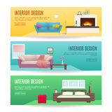 Furniture Horizontal Banners Set. With design of fireplace lounge and bedroom interiors isolated vector illustration Royalty Free Stock Photos