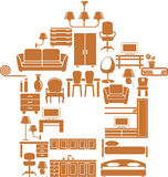 Furniture for house. The house in form of furniture icons Stock Image