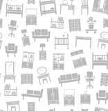 Furniture for house, background, seamless, white. Royalty Free Stock Photography
