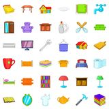 Furniture in house icons set, cartoon style Royalty Free Stock Photography