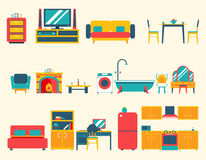 Furniture House Interior Icons and Symbols Set. Furniture House Interior Icons Symbols Set Living Room Kitchen Bedroom Lounge Bathroom Cabinet Office Flat Design Stock Photo