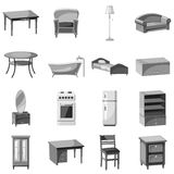Furniture and household appliances icons set Stock Photography