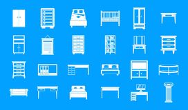 Furniture icon blue set vector. Furniture icon set. Simple set of furniture vector icons for web design isolated on blue background Stock Photos