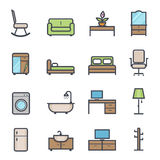 Furniture Icon Bold Stroke with Color. On White Background. Vector Illustration Royalty Free Stock Photos