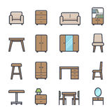 Furniture Icon Bold Stroke with Color. On White Background. Vector Illustration Royalty Free Stock Images