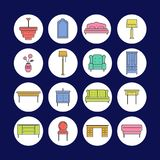 Furniture icon collection for print or web. Delicate dark blue outline with bright colors. Modern design Royalty Free Stock Images