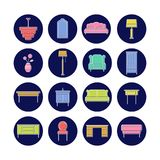 Furniture icon collection for print or web. Delicate white outline with bright colors. Modern design Royalty Free Stock Images