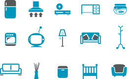 Furniture Icon Set. Vector icons pack - Blue Series, furniture collection Stock Photo