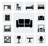 Furniture icon set Royalty Free Stock Images