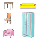 Furniture icon set. Vector illustration of furniture on white background Royalty Free Stock Images