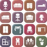 Furniture Icon set. Vector illustration Stock Images