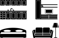 Furniture icon set. Furniture for kitchen, a drawing room and a bedroom Royalty Free Stock Photo