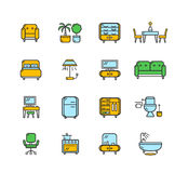 Furniture Icon Set Color. Vector Stock Photography
