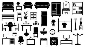 Furniture icon set. On white background Stock Photography