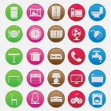 Furniture icon set gradient style vector illustration
