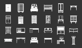 Furniture icon set grey vector. Furniture icon set vector white isolated on grey background Stock Images