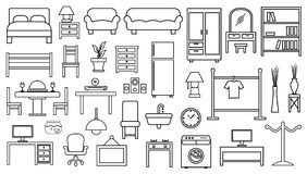 Furniture icon set outline. On white background vector illustration