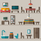 Furniture icon set for rooms of house Royalty Free Stock Photo