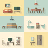 Furniture icon set for rooms of house Royalty Free Stock Photos