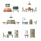 Furniture icon set for rooms of house Stock Images
