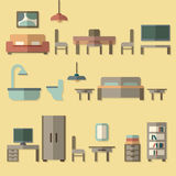 Furniture icon set for rooms of house Stock Photo