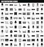 100 furniture icon set, simple style. 100 furniture icon set. Simple set of 100 furniture icons for web design isolated on white background stock illustration