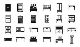 Furniture icon set, simple style Royalty Free Stock Image