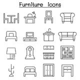 Furniture icon set in thin line style. Vector illustration graphic design Stock Photos