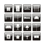 Furniture icons. Set of twelve furniture icons Royalty Free Stock Image