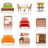 Furniture icons. Set of 9 colorful furniture icons Royalty Free Stock Photos