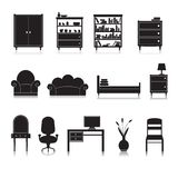 Furniture Icons Black Royalty Free Stock Photography