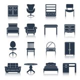 Furniture Icons Black Stock Image