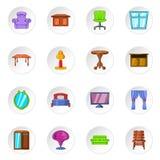 Furniture icons, cartoon style Royalty Free Stock Photo