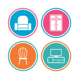 Furniture icons. Cupboard, chair and TV table. Stock Image
