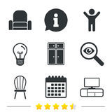 Furniture icons. Cupboard, chair and TV table. Stock Photography