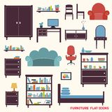 Furniture icons flat Stock Photos