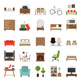 Furniture Icons Flat Design Royalty Free Stock Photography
