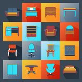 Furniture Icons Flat Stock Photo