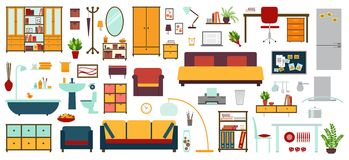 Furniture icons in flat style for house Stock Photo