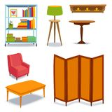 Furniture interior icons home design modern living room house sofa comfortable apartment couch vector illustration Royalty Free Stock Photography