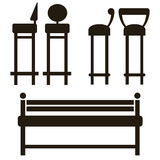 Furniture icons isolated on white Royalty Free Stock Photos